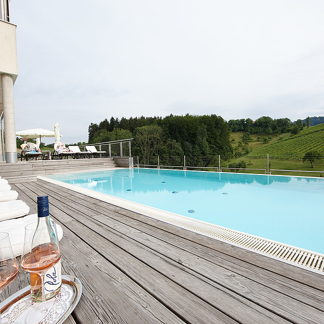 Heated outdoor pool overlooking the vineyards