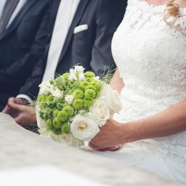 Beautiful white-green bridal bouquet