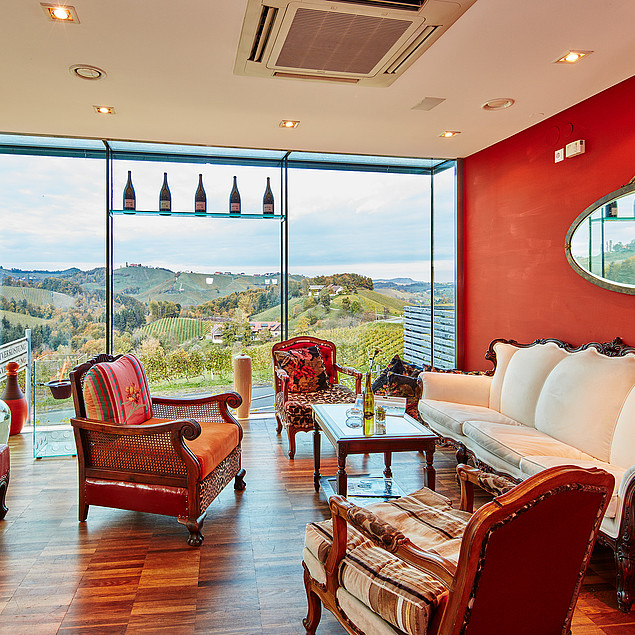 Cozy hotellobby with a fantastic view of the vineyards