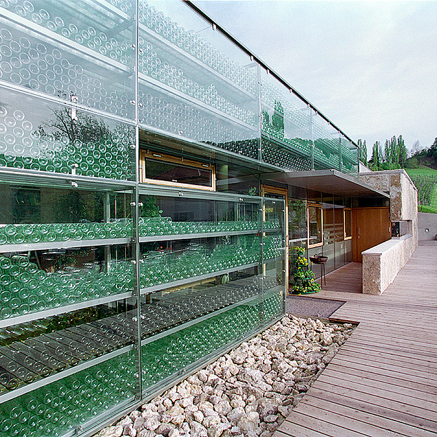 Wine cellar behind a long glass front from the Winery Polz at Grassnitzberg
