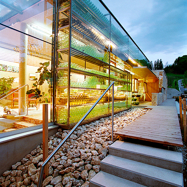 "The ""transparent"" building of Winery Polz at dusk"