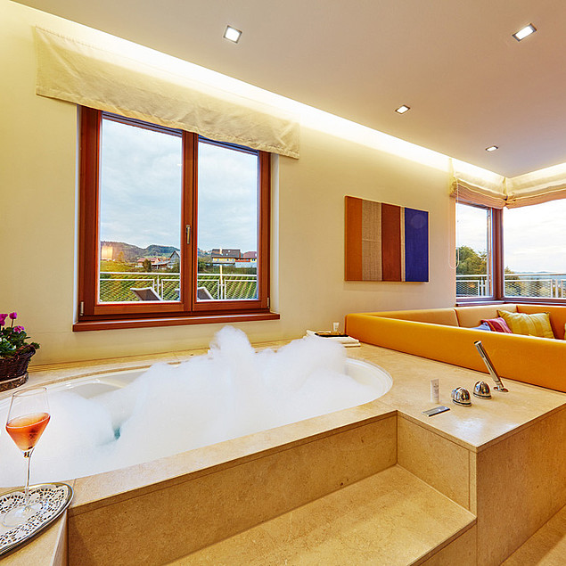 Air-conditioned room with jacuzzi in the living area